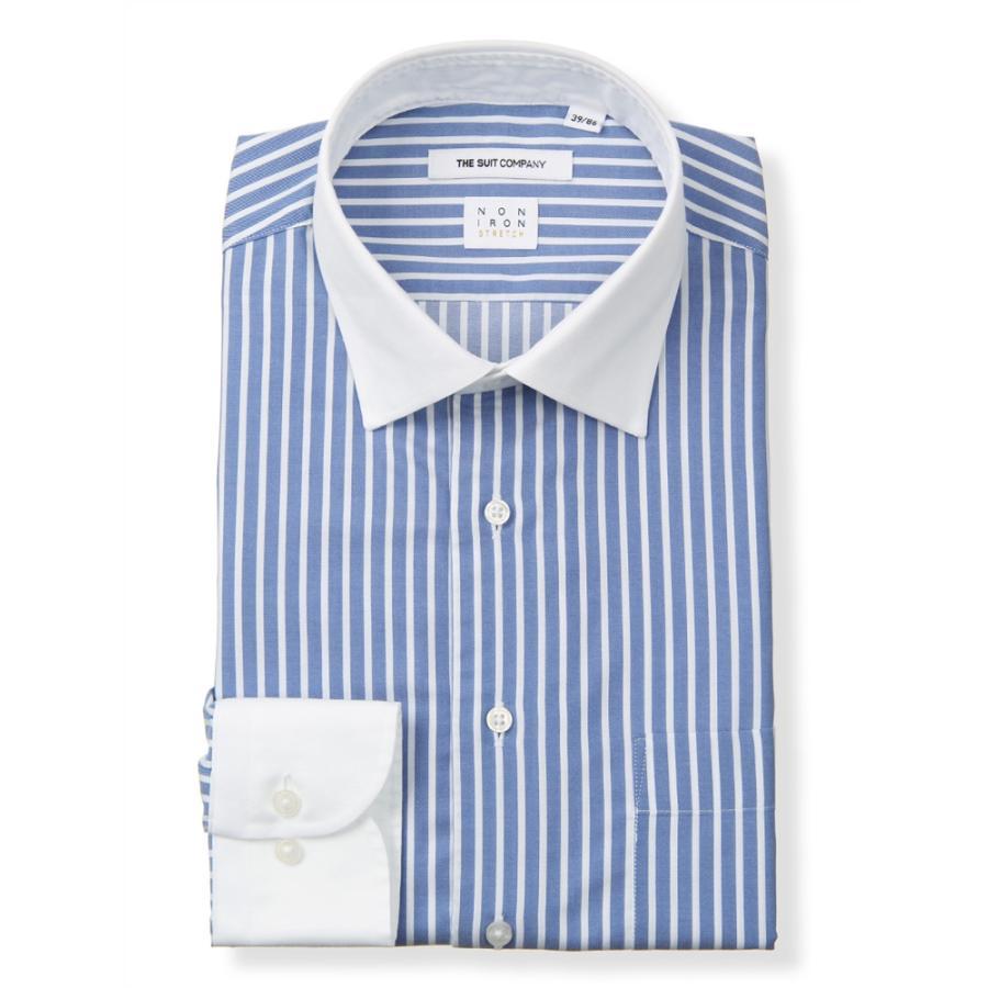ドレスシャツ/長袖/メンズ/NON IRON STRETCH/クレリック&ワイドカラードレスシャツ ストライプ〔EC・FIT〕 ブルー×ホワイト