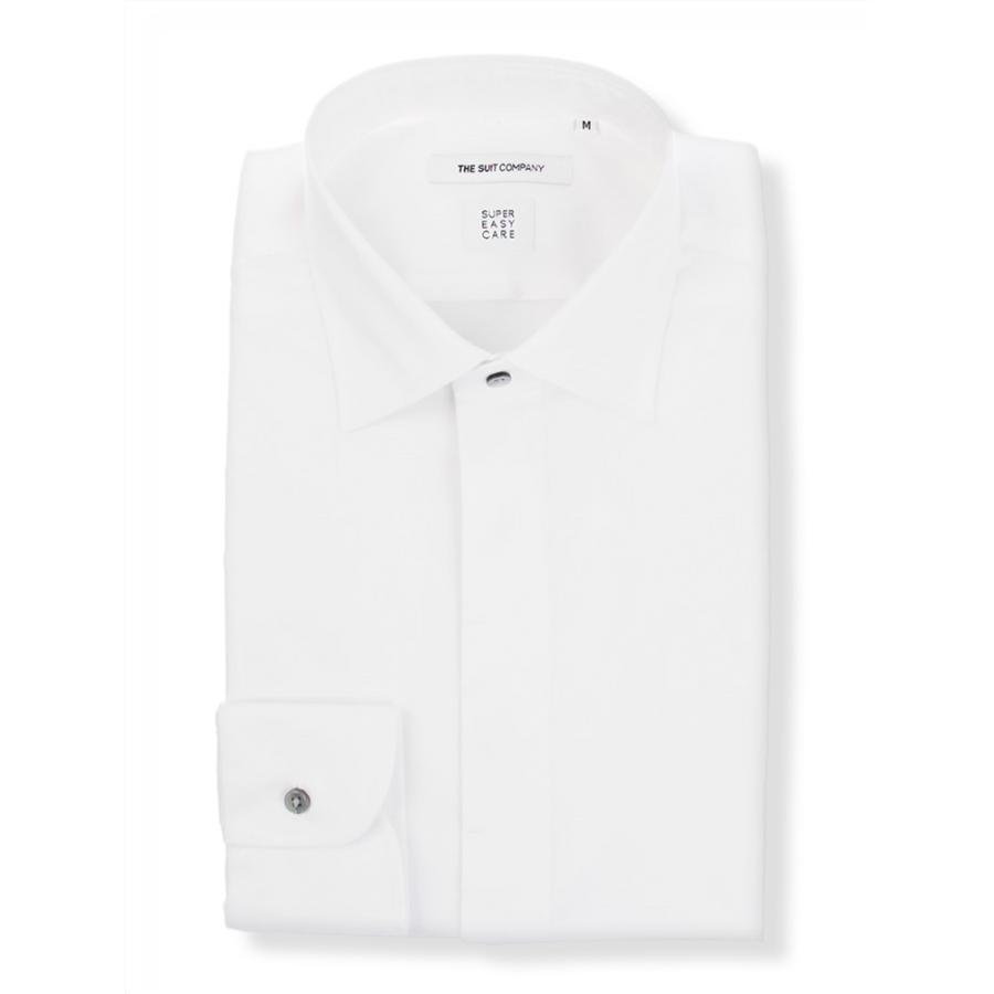 ドレスシャツ/長袖/メンズ/SUPER EASY CARE/ワイドカラードレスシャツ 無地 〔EC・FIT〕 ホワイト