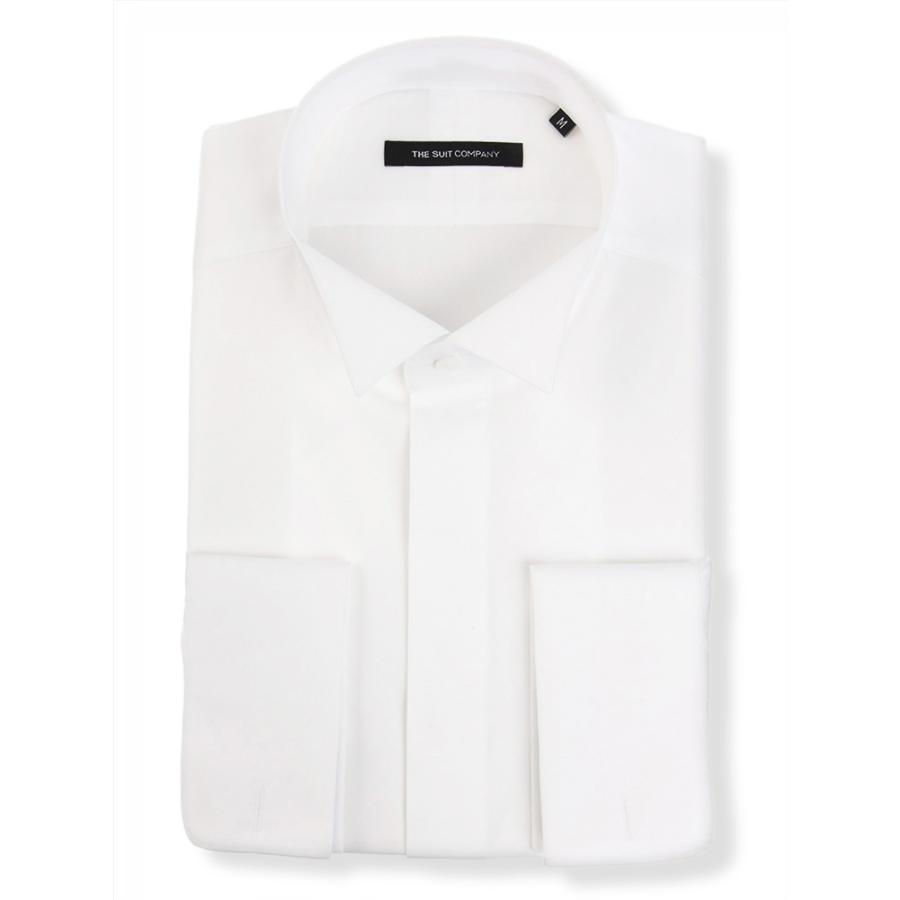 ドレスシャツ/長袖/メンズ/FORMAL/ダブルカフス&ウイングカラードレスシャツ 無地 〔BASIC〕 ホワイト