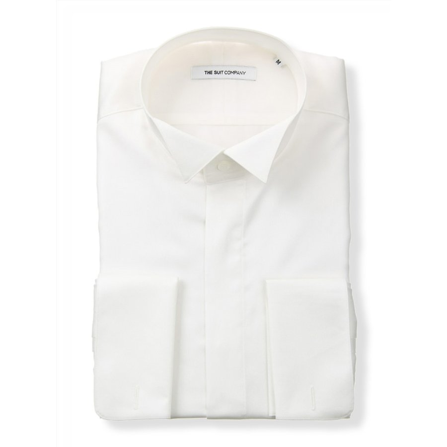 ドレスシャツ/長袖/メンズ/FORMAL/ダブルカフス&ウイングカラードレスシャツ 無地 〔FIT〕 ホワイト
