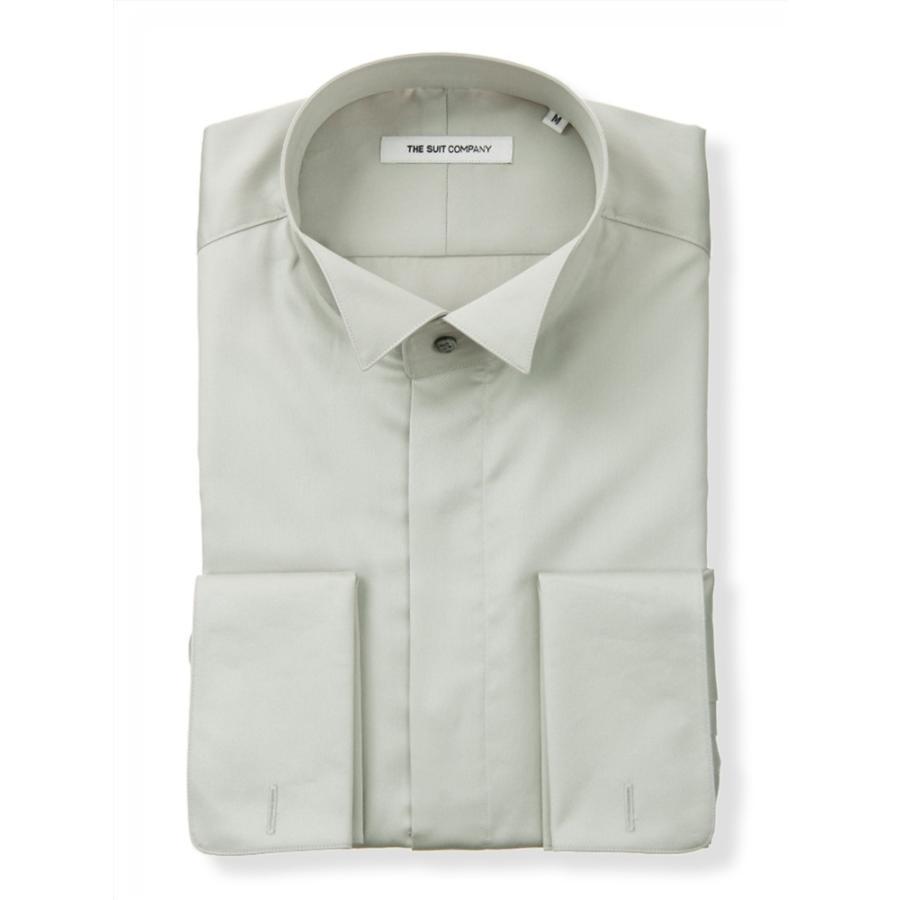 ドレスシャツ/長袖/メンズ/FORMAL/ダブルカフス&ウイングカラードレスシャツ 無地 〔FIT〕 ライトグレー