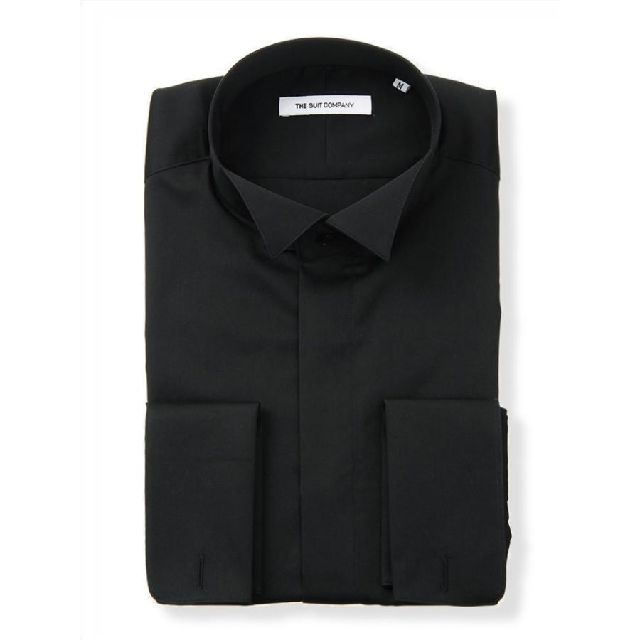 ドレスシャツ/長袖/メンズ/FORMAL/ダブルカフス&ウイングカラードレスシャツ 無地 〔FIT〕 ブラック