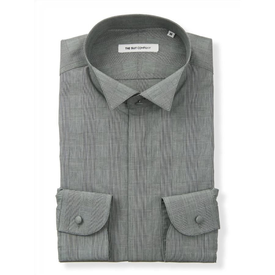 ドレスシャツ/長袖/メンズ/FORMAL/ウイングカラードレスシャツ グレンチェック 〔FIT〕 ミディアムグレー×ブラック