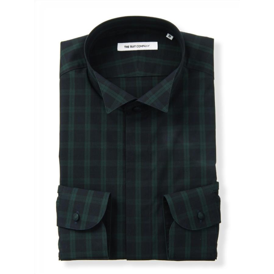 ドレスシャツ/長袖/メンズ/FORMAL/ウイングカラードレスシャツ チェック 〔FIT〕 ネイビー×グリーン