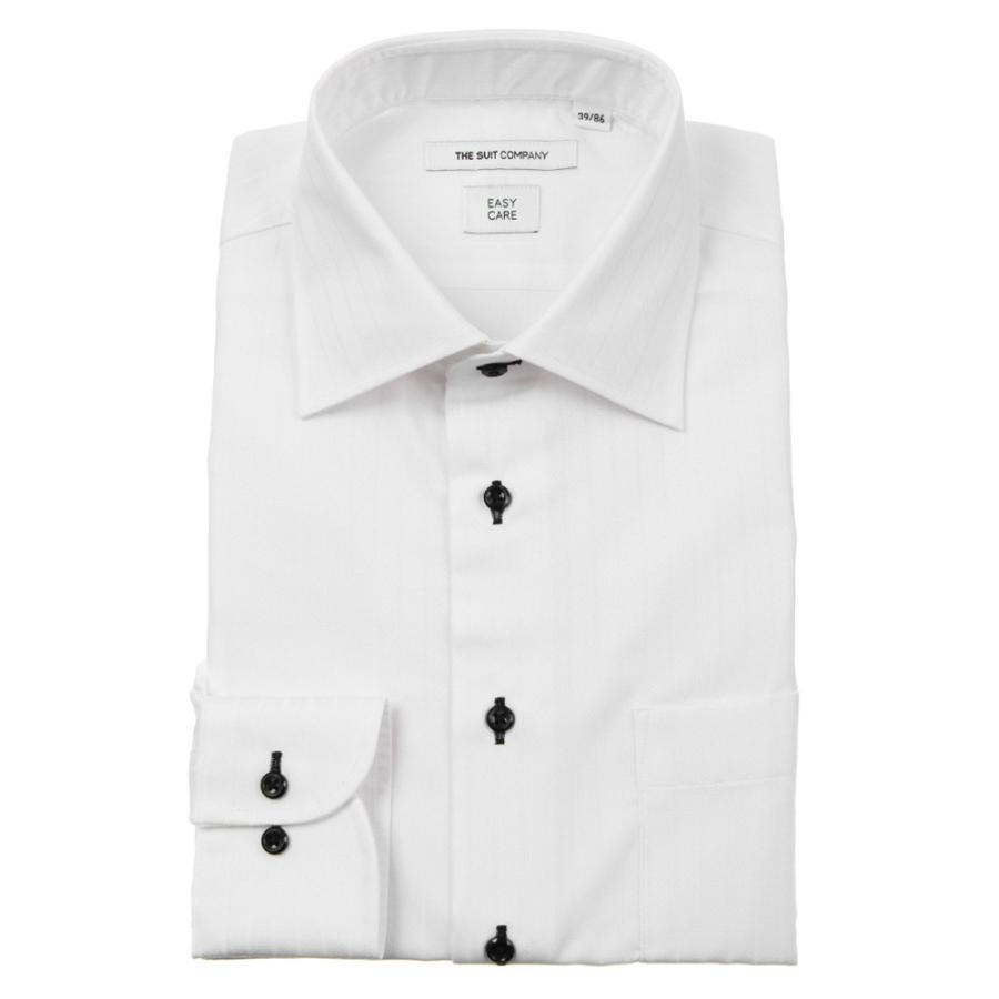 ドレスシャツ/長袖/メンズ/ワイドカラードレスシャツ シャドーストライプ 〔EC・FIT〕 ホワイト
