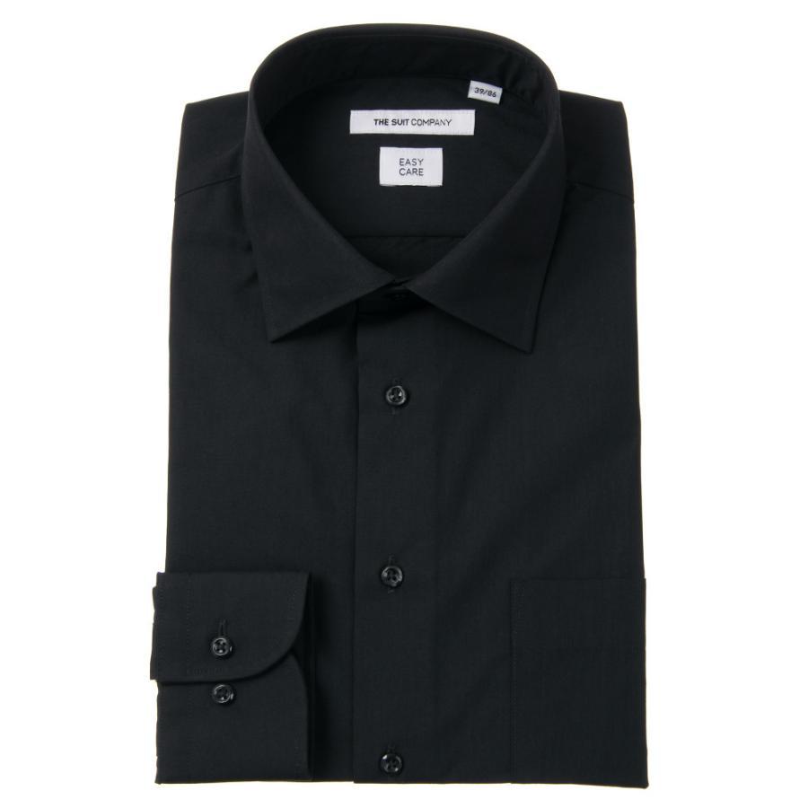 ドレスシャツ/長袖/メンズ/ワイドカラードレスシャツ 無地 〔EC・FIT〕 ブラック