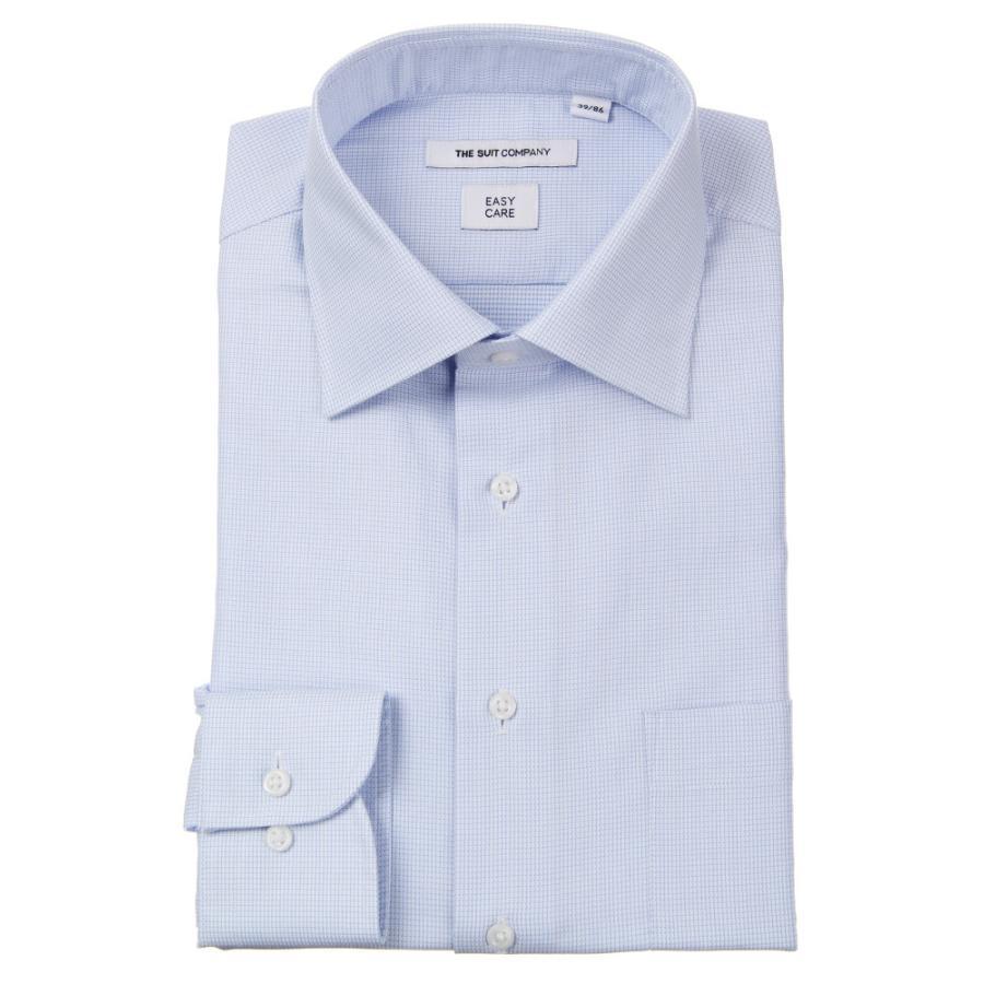 ドレスシャツ/長袖/メンズ/ワイドカラードレスシャツ 織柄 〔EC・FIT〕 サックスブルー×ホワイト
