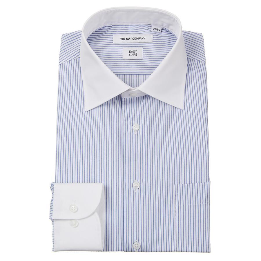ドレスシャツ/長袖/メンズ/クレリック&ワイドカラードレスシャツ ストライプ 〔EC・FIT〕 ホワイト×ブルー