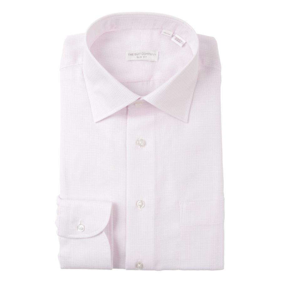 ドレスシャツ/長袖/メンズ/THE SUIT COMPANY Red/ワイドカラードレスシャツ〔EC・SLIM FIT〕 ピンク×ホワイト