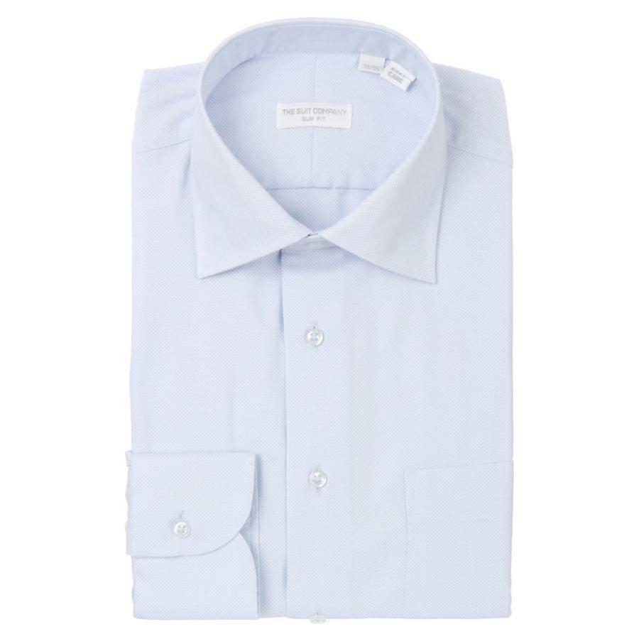 ドレスシャツ/長袖/メンズ/THE SUIT COMPANY Red/ワイドカラードレスシャツ 織柄〔EC・SLIM FIT〕 ブルー