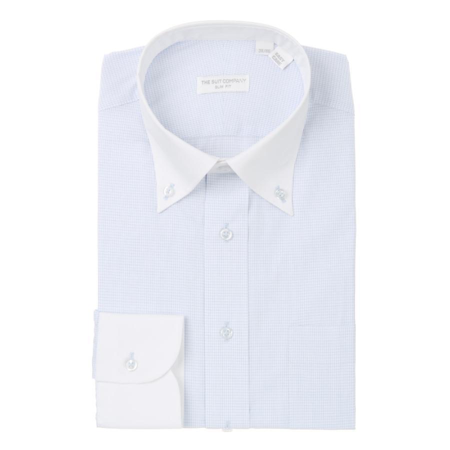 ドレスシャツ/長袖/メンズ/THE SUIT COMPANY Red/ボタンダウンカラードレスシャツ〔EC・SLIM FIT〕 ホワイト×サックスブルー
