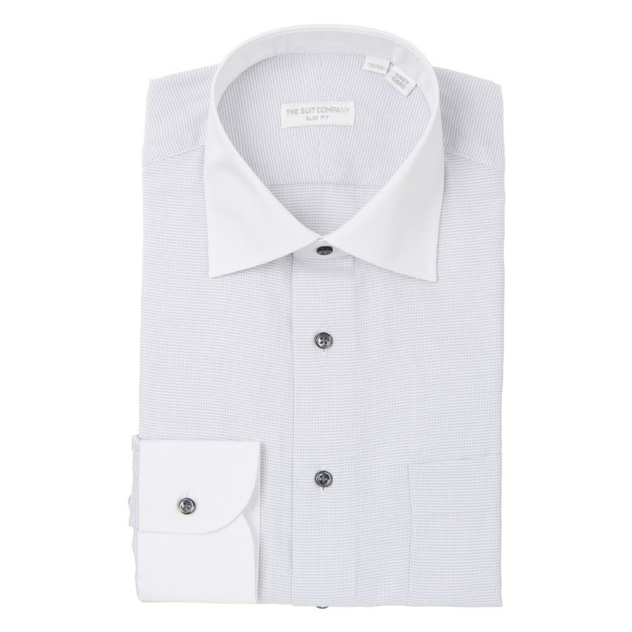 ドレスシャツ/長袖/メンズ/THE SUIT COMPANY Red/ワイドカラードレスシャツ〔EC・SLIM FIT〕 ライトグレー×ホワイト