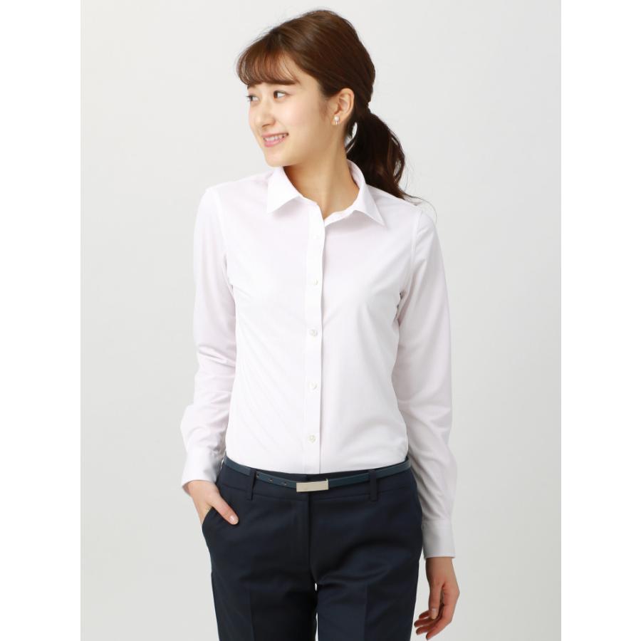 シャツ/ブラウス/レディース/ノンアイロンジャージー素材/Easy Care Stretch Blouse レギュラーカラー ホワイト×ピンク