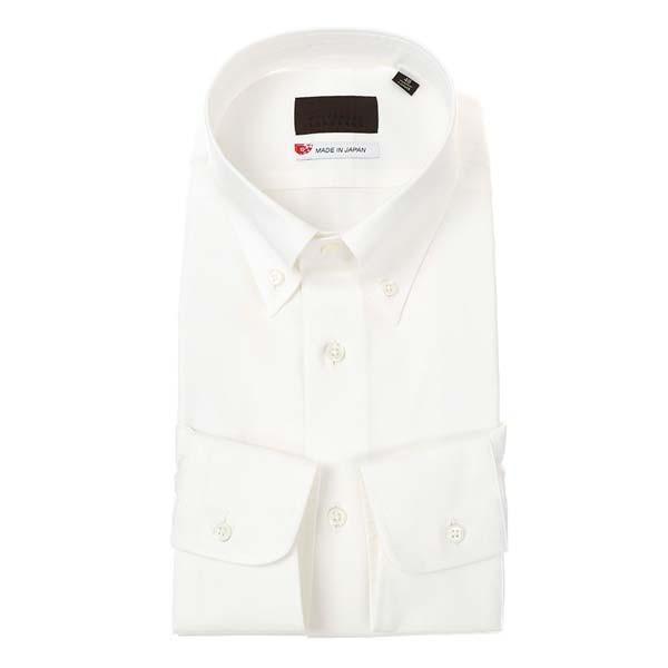 ドレスシャツ/長袖/メンズ/JAPAN MADE SHIRTS/ボタンダウンカラードレスシャツ 無地 ホワイト