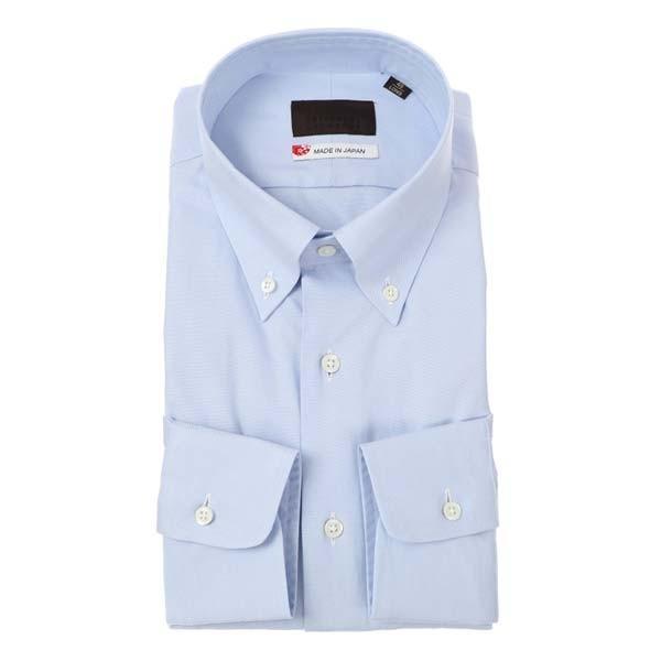 ドレスシャツ/長袖/メンズ/JAPAN MADE SHIRTS/ボタンダウンカラードレスシャツ 無地 サックスブルー
