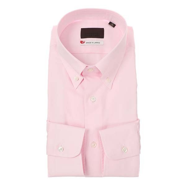 ドレスシャツ/長袖/メンズ/JAPAN MADE SHIRTS/ボタンダウンカラードレスシャツ 無地 ピンク