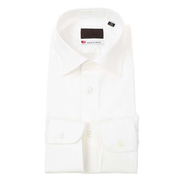 ドレスシャツ/長袖/メンズ/JAPAN MADE SHIRTS/ワイドカラードレスシャツ 織柄 ホワイト