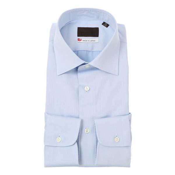 ドレスシャツ/長袖/メンズ/JAPAN MADE SHIRTS/ワイドカラードレスシャツ 織柄 サックスブルー×ホワイト