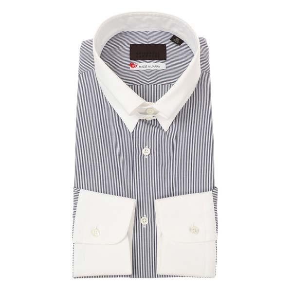 ドレスシャツ/長袖/メンズ/JAPAN MADE SHIRTS/クレリック&タブカラードレスシャツ ストライプ ネイビー×ホワイト