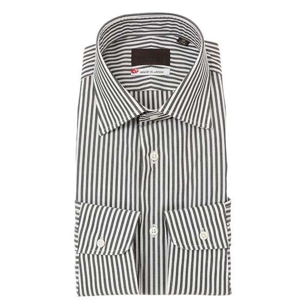 ドレスシャツ/長袖/メンズ/JAPAN MADE SHIRTS/ワイドカラードレスシャツ ストライプ チャコールグレー×ホワイト
