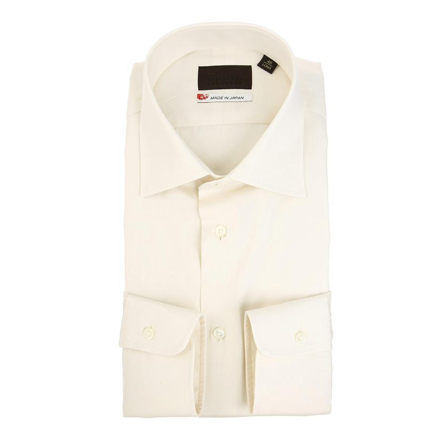 ドレスシャツ/長袖/メンズ/JAPAN MADE SHIRTS/ワイドカラードレスシャツ 無地 オフホワイト
