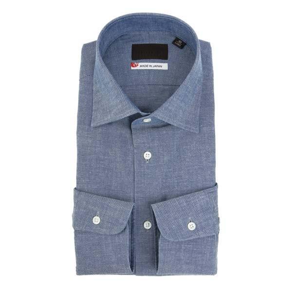 ドレスシャツ/長袖/メンズ/JAPAN MADE SHIRTS/ワイドカラードレスシャツ 織柄 ネイビー