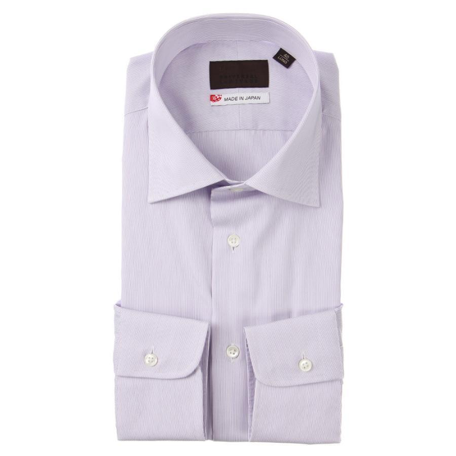 ドレスシャツ/長袖/メンズ/JAPAN MADE SHIRTS/ワイドカラードレスシャツ ストライプ パープル×ホワイト