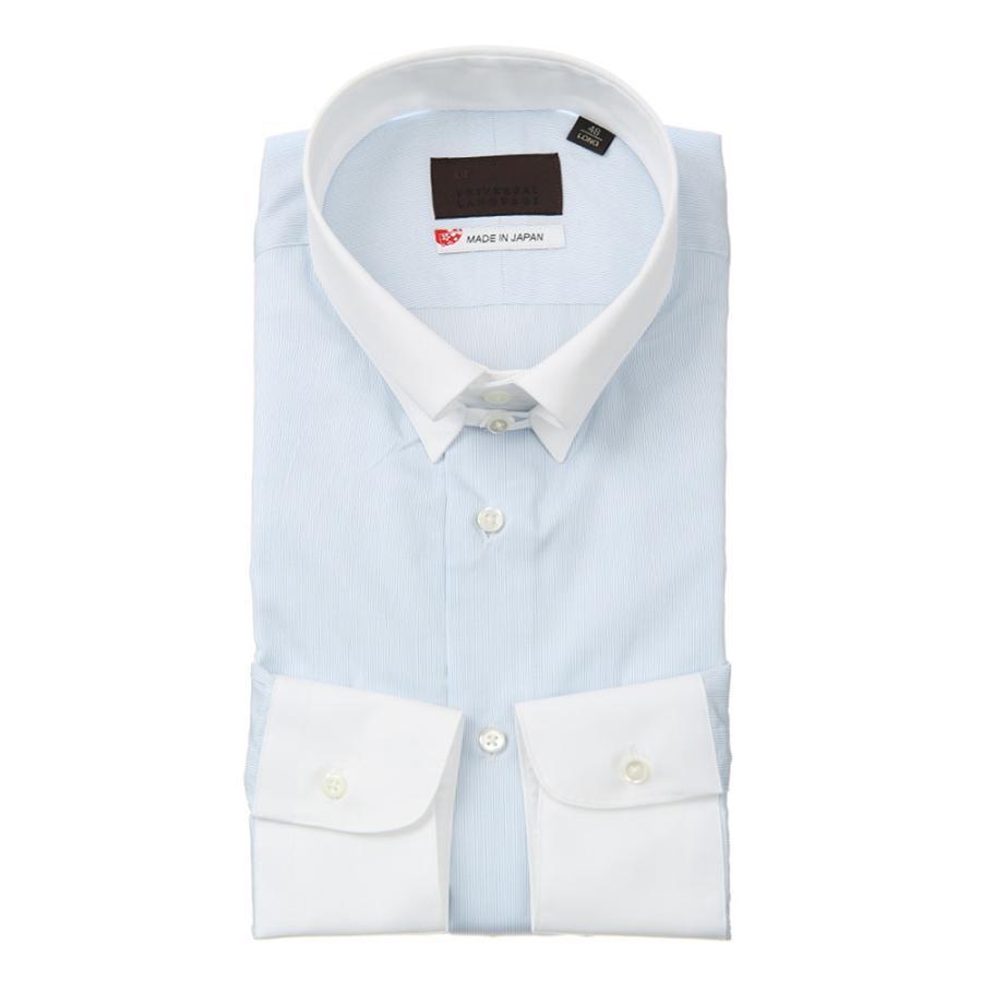 ドレスシャツ/長袖/メンズ/JAPAN MADE SHIRTS/クレリック&タブカラードレスシャツ ストライプ ホワイト×サックスブルー
