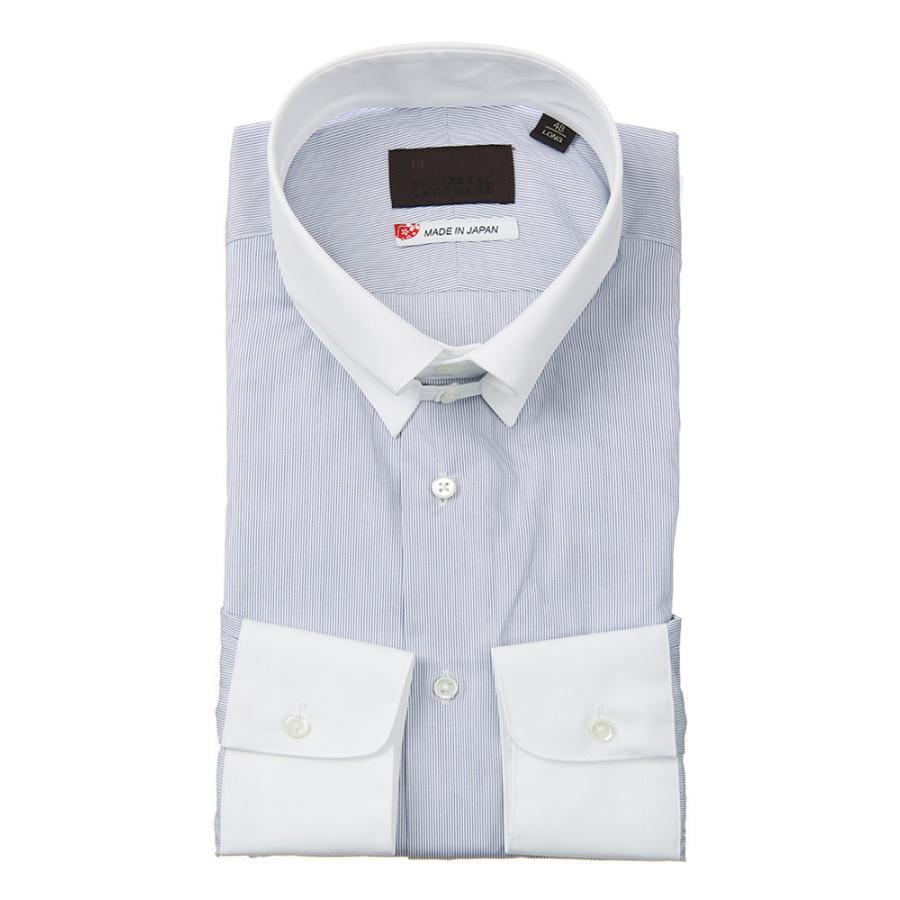 ドレスシャツ/長袖/メンズ/JAPAN MADE SHIRTS/クレリック&タブカラードレスシャツ ストライプ ホワイト×ネイビー