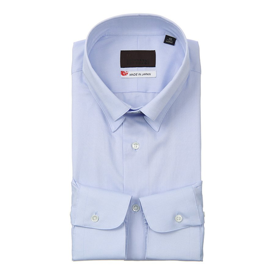 ドレスシャツ/長袖/メンズ/JAPAN MADE SHIRTS/ピンホールカラードレスシャツ 無地 ブルー