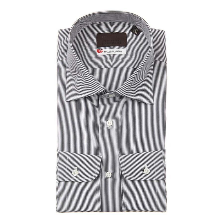 ドレスシャツ/長袖/メンズ/JAPAN MADE SHIRTS/ワイドカラードレスシャツ ストライプ ネイビー×ホワイト