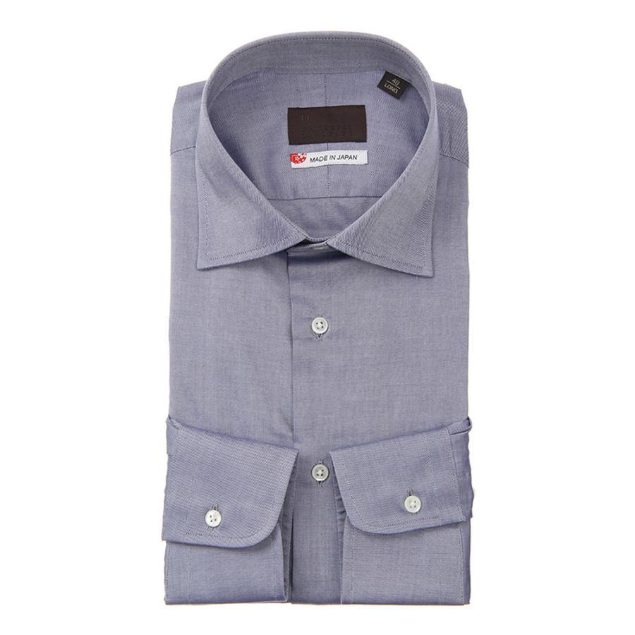 ドレスシャツ/長袖/メンズ/JAPAN MADE SHIRTS/ワイドカラードレスシャツ 織柄 インディゴ