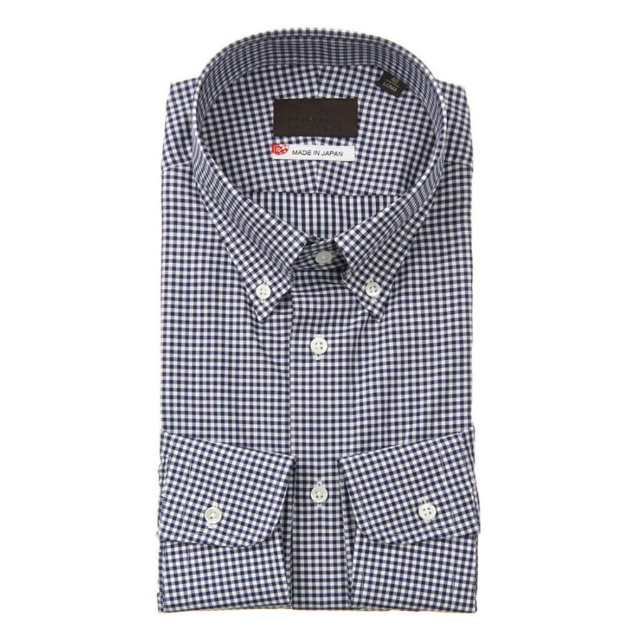ドレスシャツ/長袖/メンズ/JAPAN MADE SHIRTS/ボタンダウンカラードレスシャツ ギンガムチェック ネイビー×ホワイト