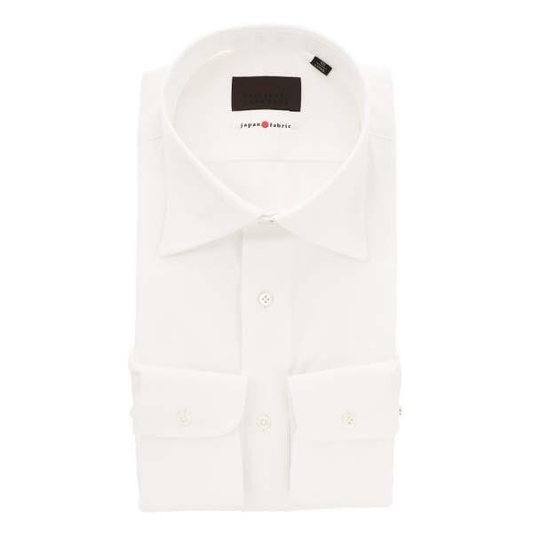 ドレスシャツ/長袖/メンズ/JAPAN FABRIC/ワイドカラードレスシャツ 織柄 ホワイト