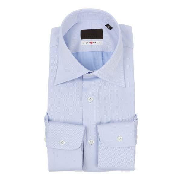 ドレスシャツ/長袖/メンズ/JAPAN FABRIC/ワイドカラードレスシャツ 織柄 ブルー×ホワイト