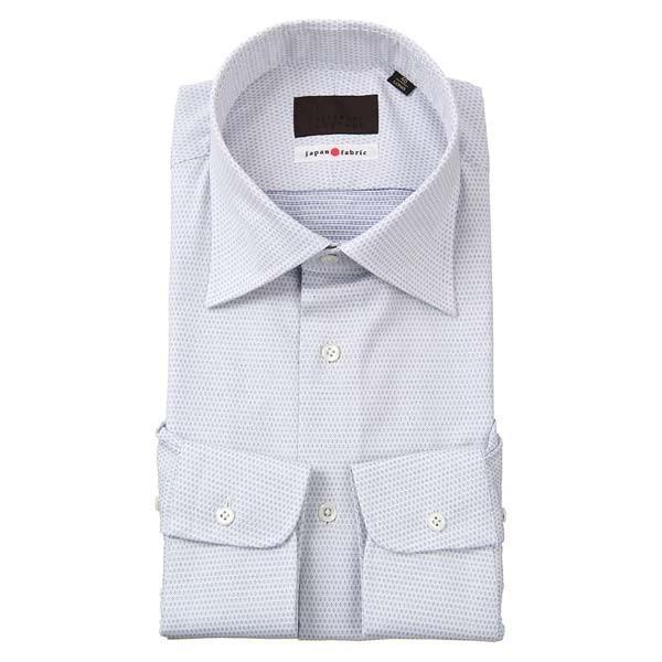 ドレスシャツ/長袖/メンズ/JAPAN FABRIC/ワイドカラードレスシャツ 小紋 ホワイト×ネイビー