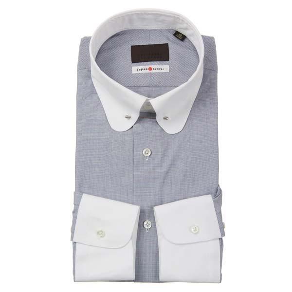 ドレスシャツ/長袖/メンズ/JAPAN FABRIC/クレリック&ラウンドピンホールカラードレスシャツ 織柄 ネイビー×ホワイト