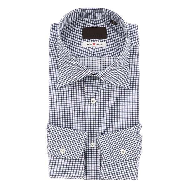 ドレスシャツ/長袖/メンズ/JAPAN FABRIC/ワイドカラードレスシャツ ギンガムチェック ホワイト×ネイビー