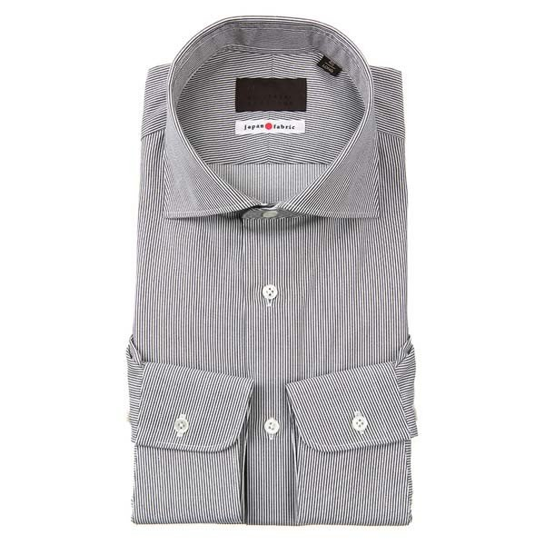 ドレスシャツ/長袖/メンズ/JAPAN FABRIC/ホリゾンタルカラードレスシャツ ストライプ チャコールグレー×ホワイト
