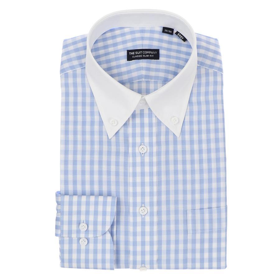 ドレスシャツ/長袖/メンズ/クレリック&ボタンダウンカラードレスシャツ 〔EC・CLASSIC SLIM-FIT〕 サックスブルー×ホワイト