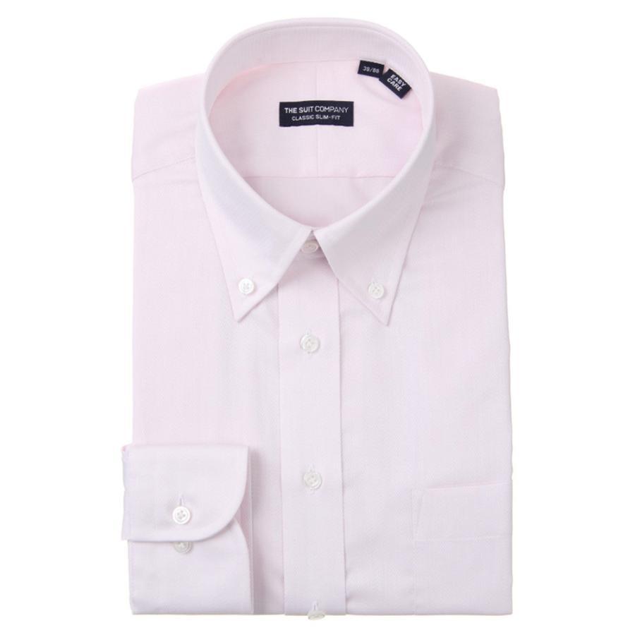 ドレスシャツ/長袖/メンズ/ボタンダウンカラードレスシャツ 織柄 〔EC・CLASSIC SLIM-FIT〕 ピンク×ホワイト