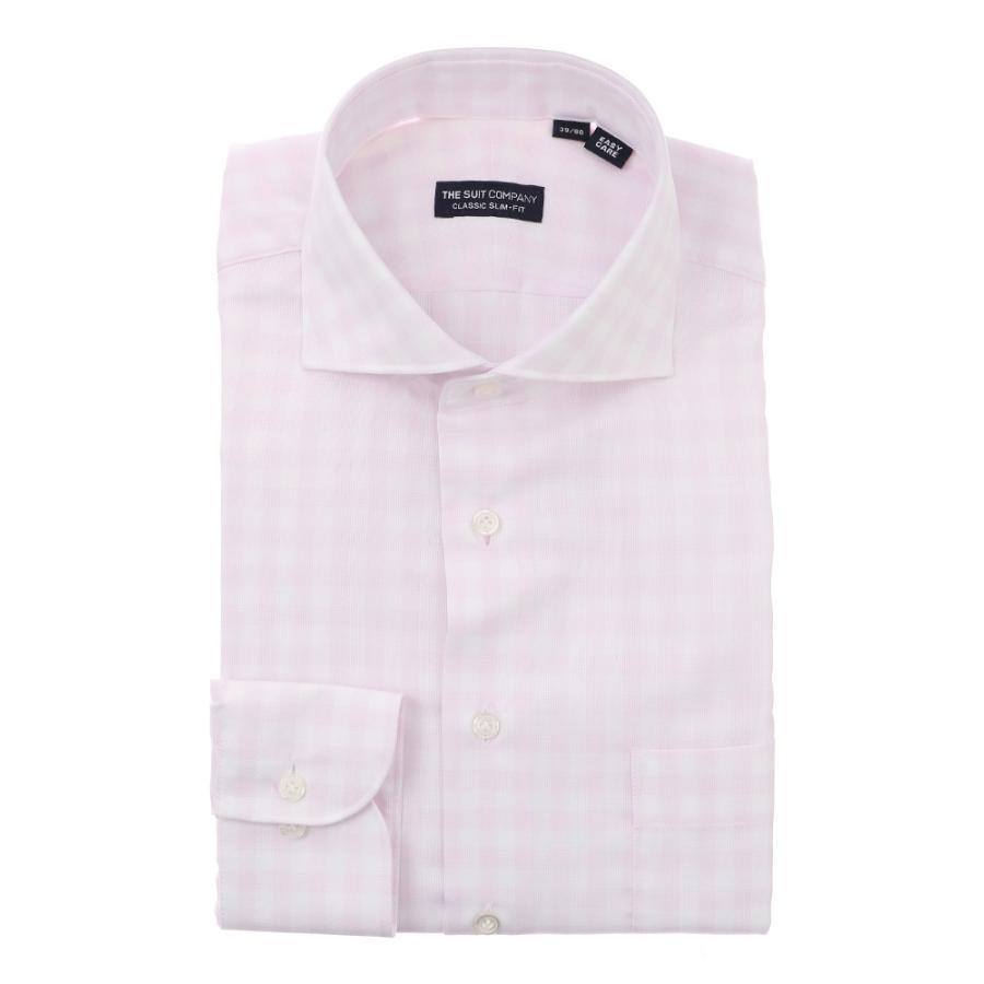 ドレスシャツ/長袖/メンズ/ホリゾンタルカラードレスシャツ ギンガムチェック 〔EC・CLASSIC SLIM-FIT〕 ピンク×ホワイト