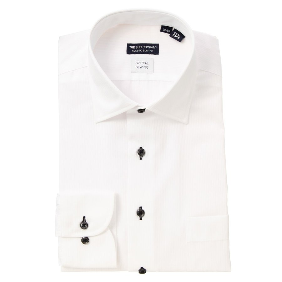 ドレスシャツ/長袖/メンズ/Special sewing/ワイドカラードレスシャツ〔EC・CLASSIC SLIM-FIT〕 ホワイト