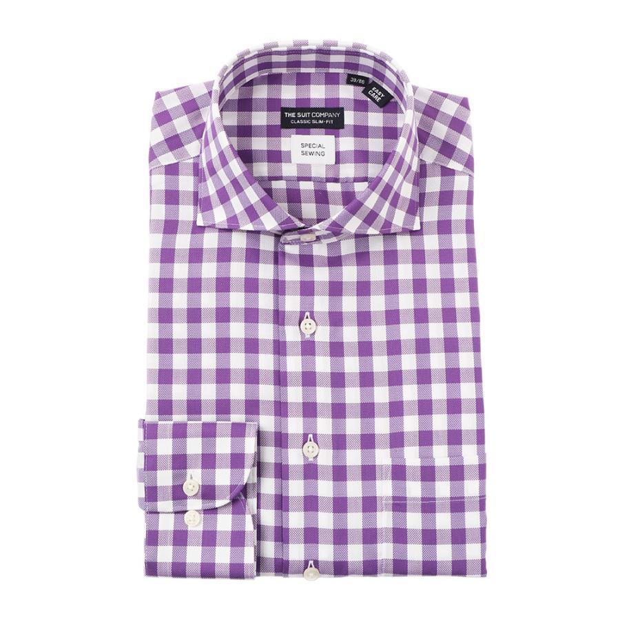 ドレスシャツ/長袖/メンズ/COOL MAX/ホリゾンタルカラードレスシャツチェック〔EC・CLASSIC SLIM-FIT〕 パープル×ホワイト