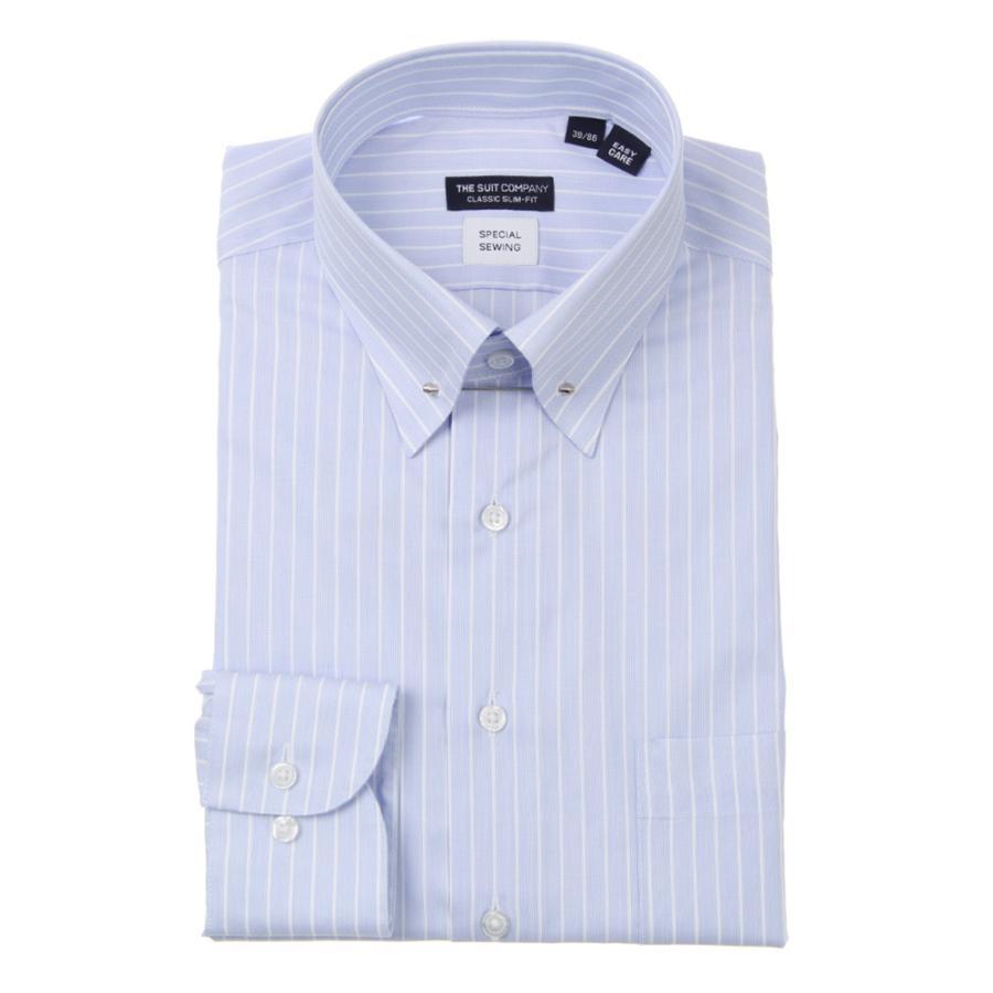 ドレスシャツ/長袖/メンズ/ピンホールカラードレスシャツ ストライプ 〔EC・CLASSIC SLIM-FIT〕 サックスブルー×ホワイト