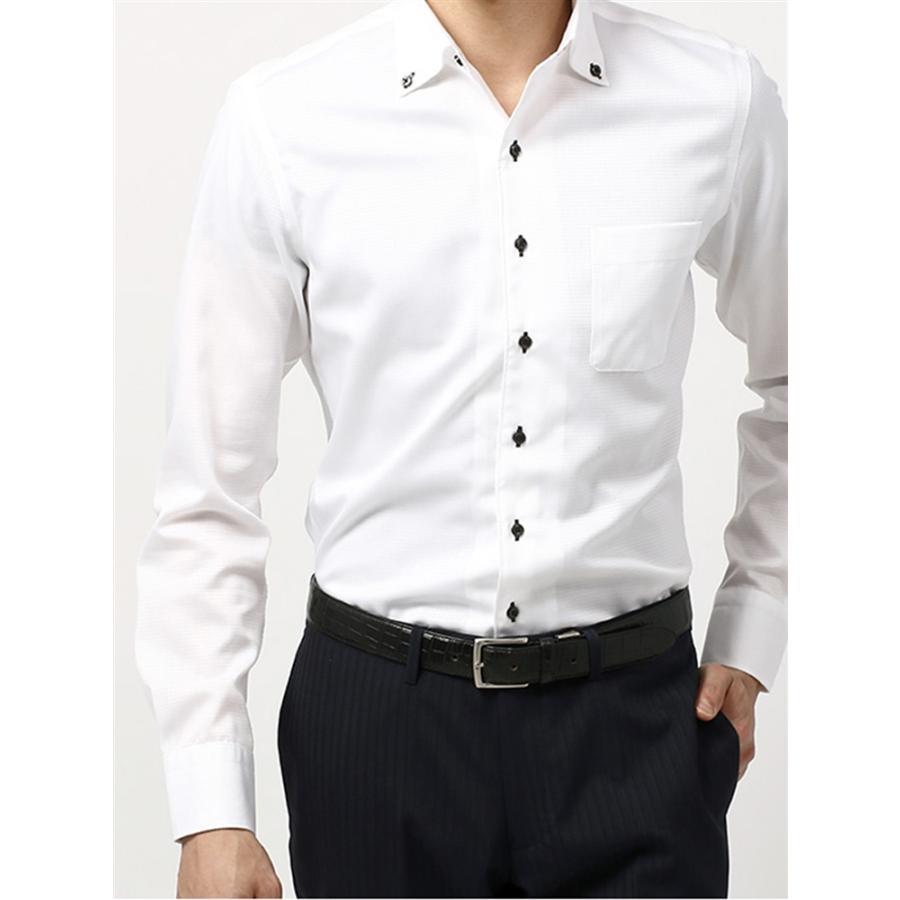 ドレスシャツ/長袖/メンズ/COOL MAX/ボタンダウンカラードレスシャツ 無地〔EC・CLASSIC SLIM-FIT〕 ホワイト
