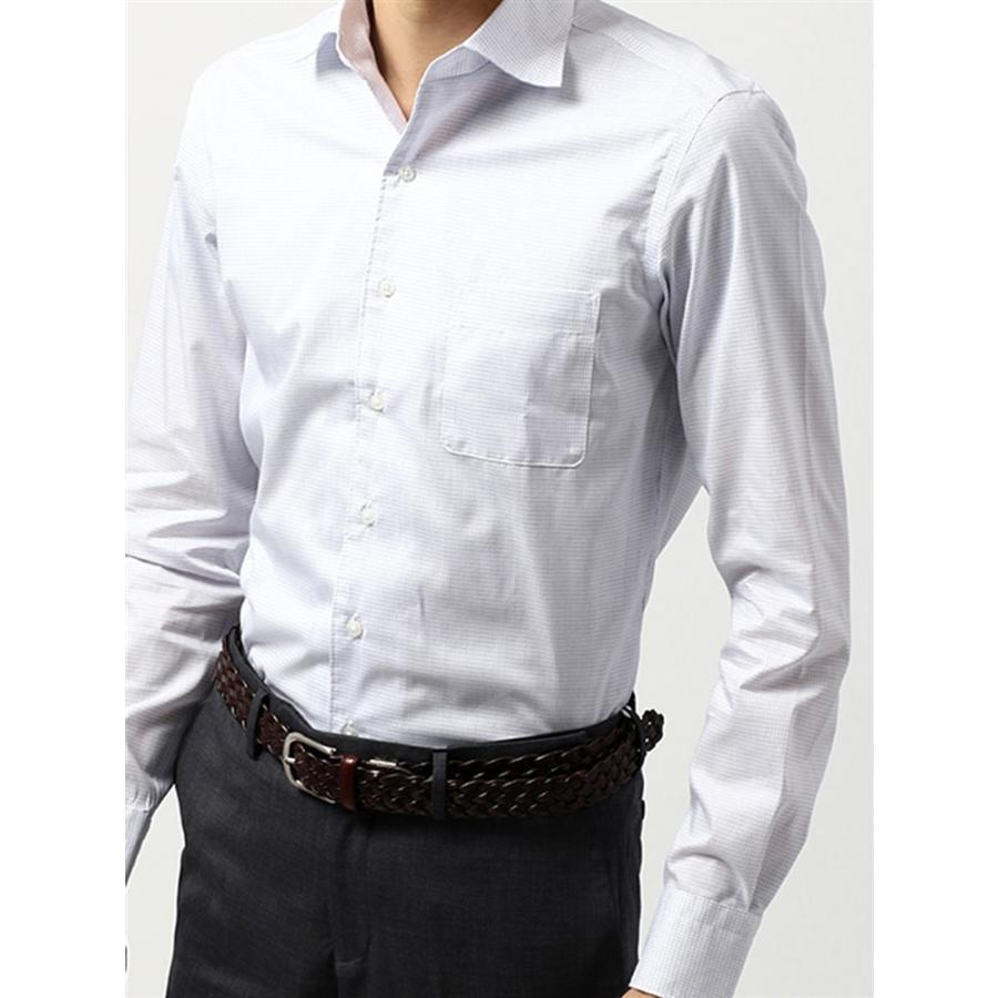 ドレスシャツ/長袖/メンズ/COOL MAX/ホリゾンタルカラードレスシャツ 〔EC・CLASSIC SLIM-FIT〕 ホワイト×ブルー