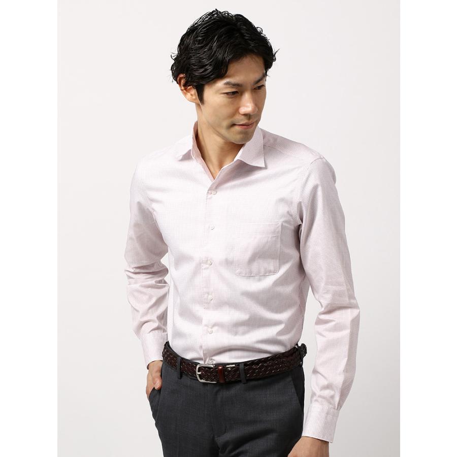 ドレスシャツ/長袖/メンズ/COOL MAX/ホリゾンタルカラードレスシャツ 〔EC・CLASSIC SLIM-FIT〕 ホワイト×レッド