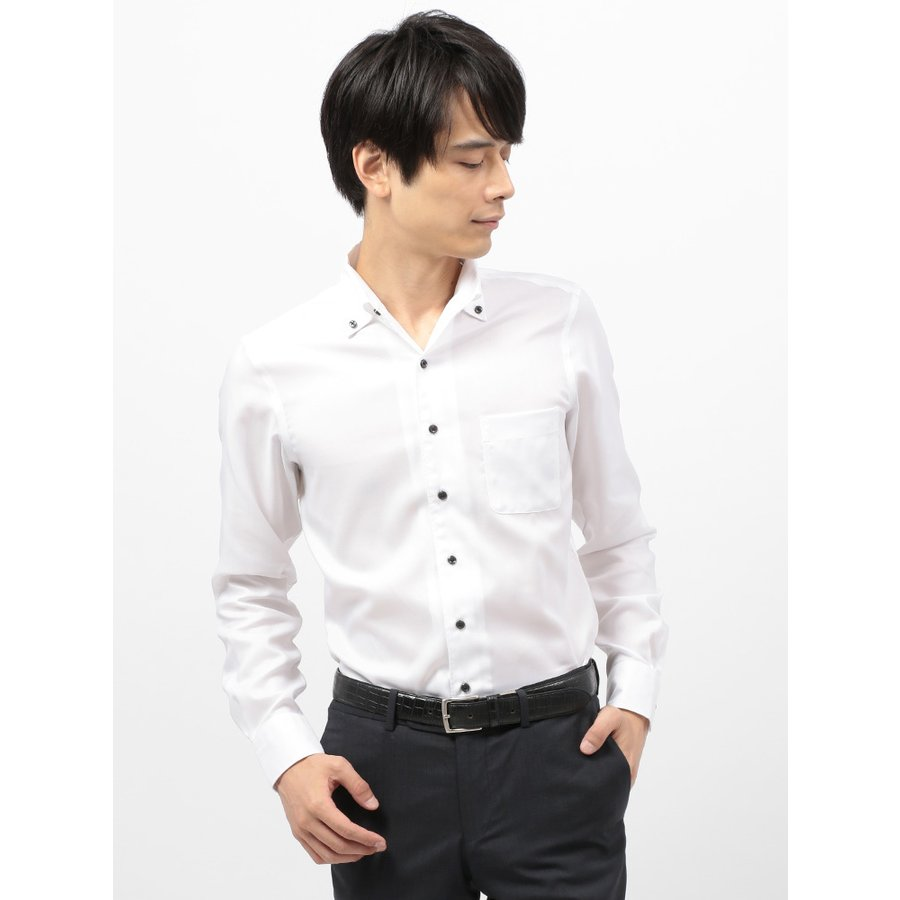ドレスシャツ/長袖/メンズ/COOL MAX/2WAYカラードレスシャツ 織柄〔EC・CLASSIC SLIM-FIT〕 ホワイト