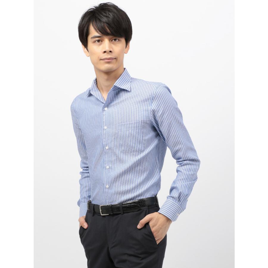 ドレスシャツ/長袖/メンズ/COOL MAX/2WAYカラードレスシャツ 〔EC・CLASSIC SLIM-FIT〕 ブルー×ホワイト